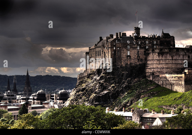A panorama of Edinburgh Castle from Science Museum roof, Scotland's capital UK @HotpixUK - Stock Image