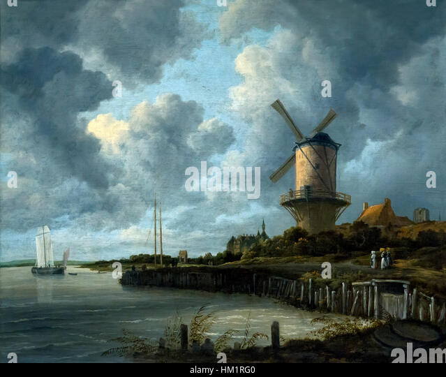 Windmill at Wijk bij Duurstede, by Jacob Isaacksz van Ruisdael, circa 1668-1670, oil on canvas, Rijksmuseum, Amsterdam, - Stock Image