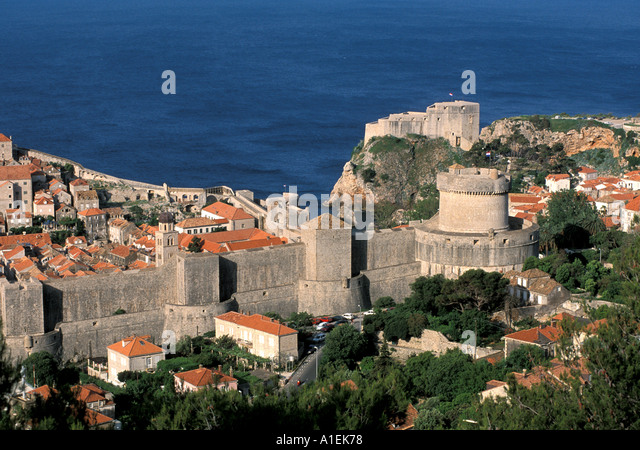 Dubrovnik Croatia Old Town Wall and harbour scenic landscape - Stock Image