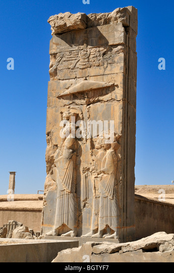 Bas-relief with god Ahuramazda at the Achaemenid archeological site of Persepolis, UNESCO World Heritage Site, Persia, - Stock Image