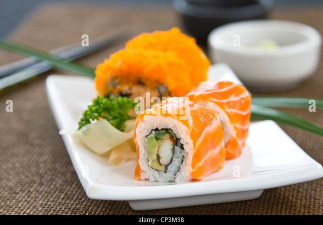 Sushi ,Salmon rolled - Stock Image