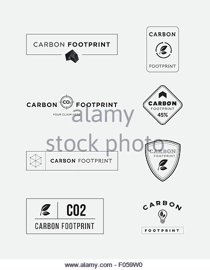 Carbon footprint logo set - Stock Image