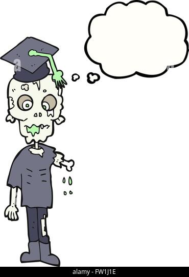 freehand drawn thought bubble cartoon zombie student - Stock Image