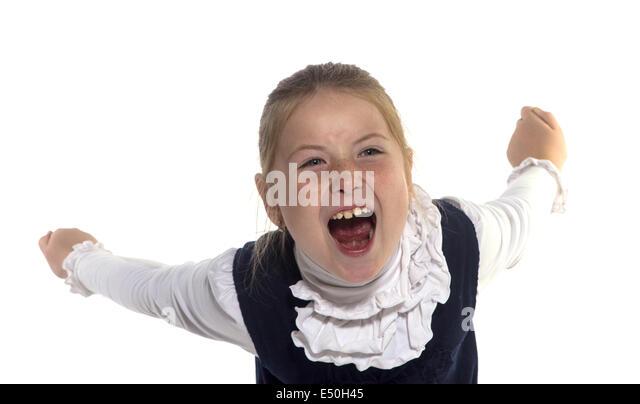Girls grimace - Stock Image