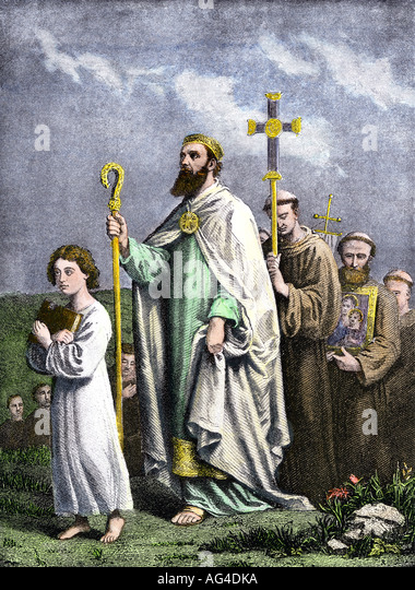 Saint Patrick journeying to Tara to convert the Irish to Christianity in the 5th century AD - Stock Image