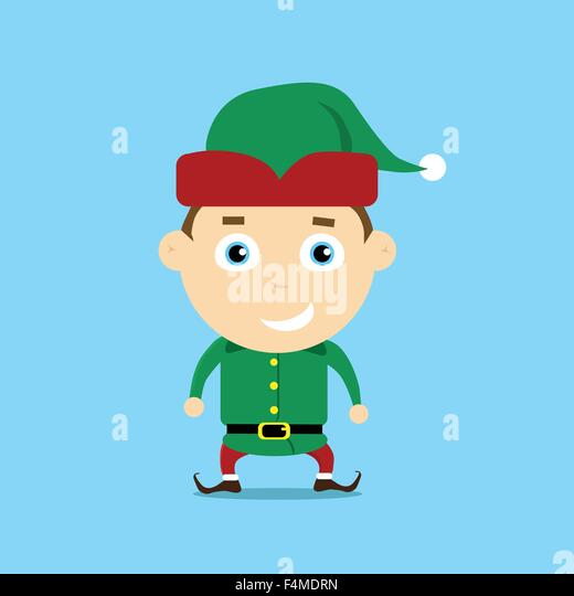 Christmas Elf Cartoon Character Santa Helper - Stock Image