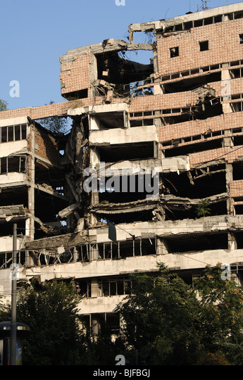 REPUBLIC OF SERBIA. BELGRADE. Government Buildings destroyed during the NATO bombing of Yugoslavia war. - Stock Image