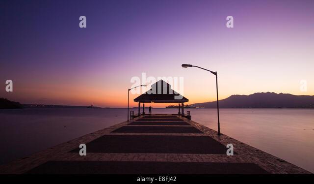 Pier at sundown - Stock Image