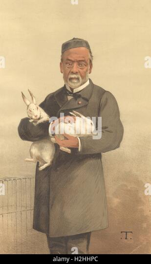 SPY CARTOON. Louis Pasteur 'Hydrophobia'. Vaccination. Pasteurisation. T. 1887 - Stock Image