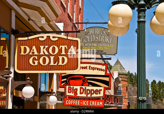 Historic Deadwood city, a national historic landmark, 19th century buildings and signs with authenticaly recreated - Stock Image