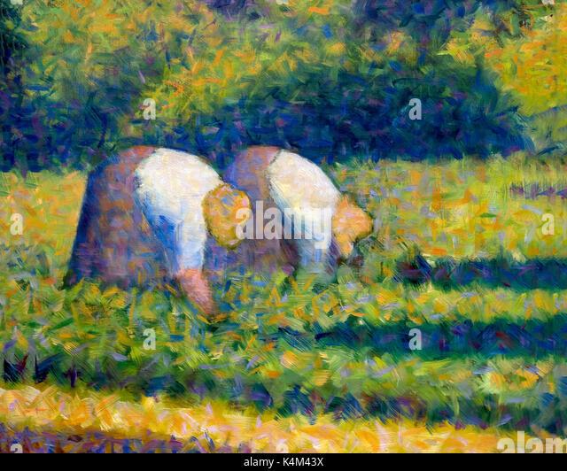 Farm Women at Work, by Georges Seurat, 1882-1883,Solomon R. Guggenheim Museum, Manhattan, New York City, USA, North - Stock Image