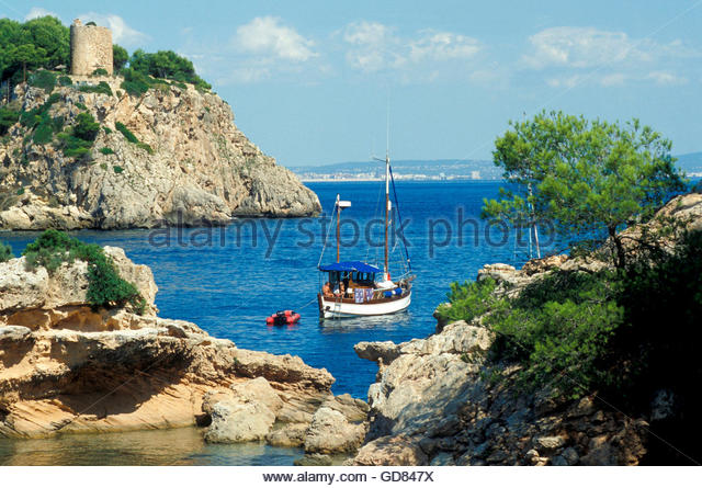 Spain, Balearic Islands, Majorca island, boat moored on bay - Stock Image