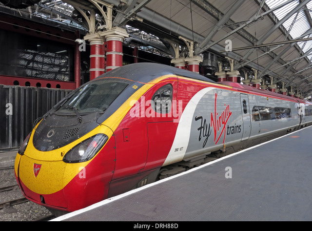 Fly Virgin Trains UK - Liverpool Lime St to Euston - red white & gray livery - Stock Image
