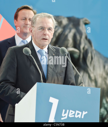 Jacques Rogge IOC President David Cameron behind. ' 1 year to go to'  London 2012 Olympics Trafalgar Square - Stock Image