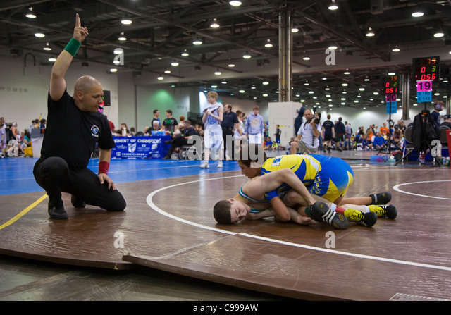 Tournament of Champions amateur wrestling competition in Columbus, Ohio. - Stock Image