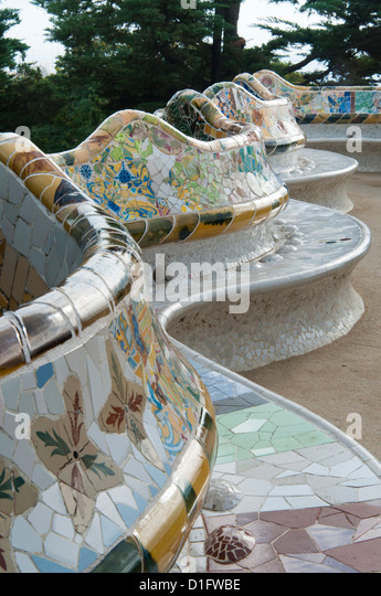 Guell Park (Parc Guell), Unesco World Heritage Site, Barcelona, Catalunya (Catalonia) (Cataluna), Spain, Europe - Stock Image