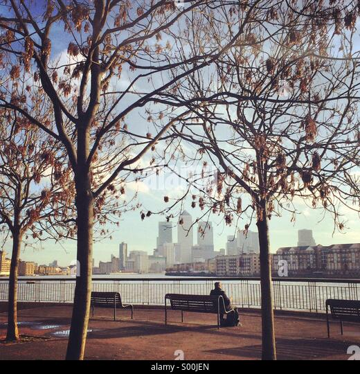 Morning run on the Thames - Stock Image