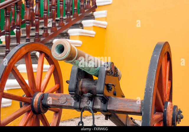 Cannon inside historical Fort Amsterdam Willemstad Curacao - Stock Image
