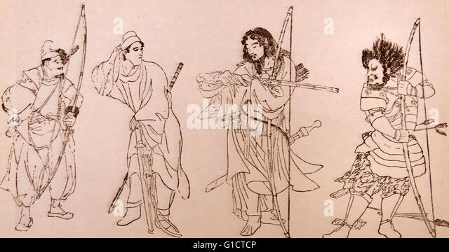 Illustration of ancient warriors of Japan - Stock Image