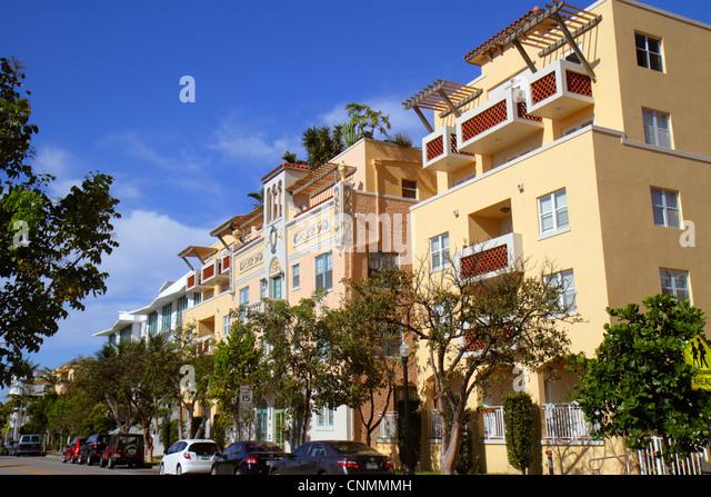 Miami Beach Florida Michigan Avenue condominium buildings residential street - Stock Image