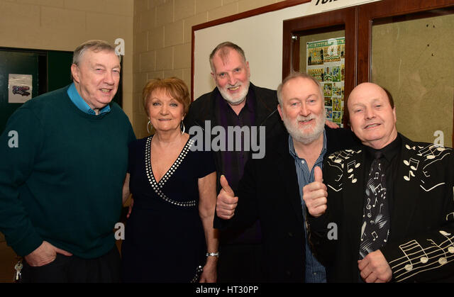Backstage with Irish Country music stars Crawford Bell, Philomena Begley, Kiaran McAnallen, Tony Allen and Sean - Stock Image