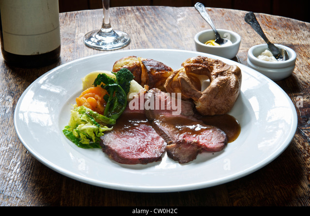 Plate of roast beef with vegetables - Stock Image