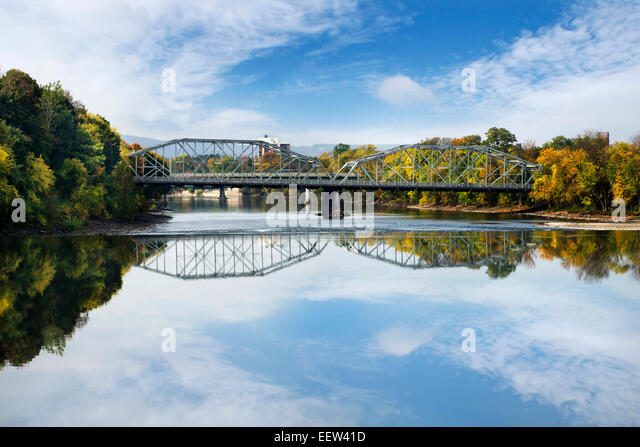 Binghamton, NY Exchange St. bridge over Susquehanna River, upstate New York, Broome County Southern Tier Region - Stock Image