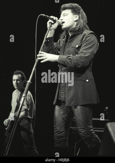 U2 (Bono and Edge) performing at the Worcester Centrum in MA in 1984. © David Atlas / MediaPunch - Stock Image