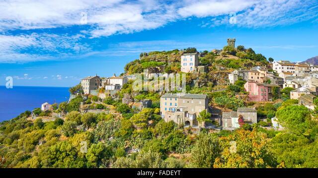 Nonza, small mountain village, Cap Corse, Corsica Island, France - Stock Image