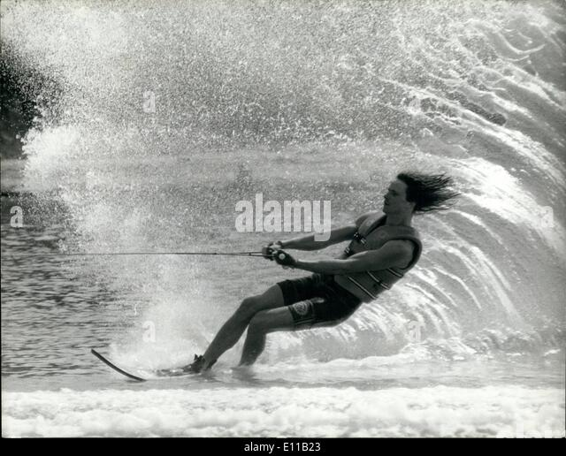Jul. 07, 1976 - Old Spice International Water Ski Competition at Ruislip. OPS: Traveling at a great speed is Eddy - Stock Image
