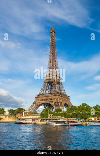 City, Eiffel Tower, France, Paris, architecture, famous, fountains, panorama, river, Seine, skyline, tourism, tower, - Stock Image