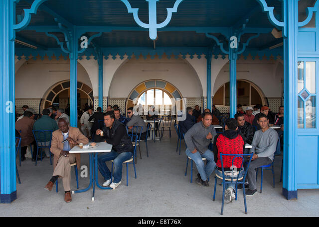 Café, Midoun, Djerba, Tunisia - Stock Image