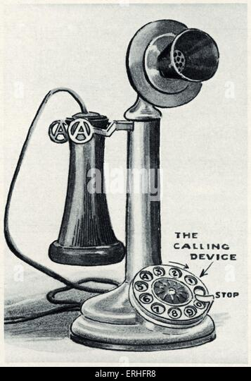 Automatic telephone, 1911 - drawing of an early telephone with dialling device. - Stock Image
