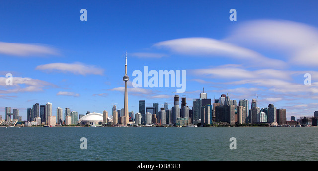 Canada, Ontario, Toronto, skyline, Rogers Centre, CN Tower, Financial District, - Stock Image