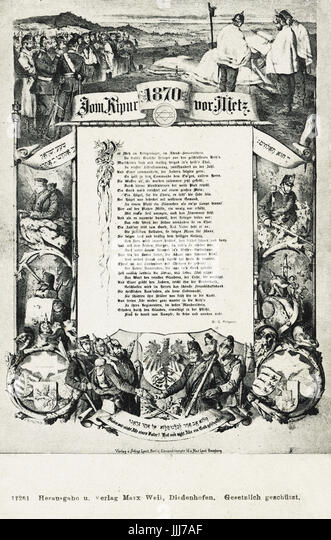 German Jewish Soliders celebrating Yom Kippur outside Metz, 1870, Franco-Prussian War. Poem by G. Phippson talks - Stock Image