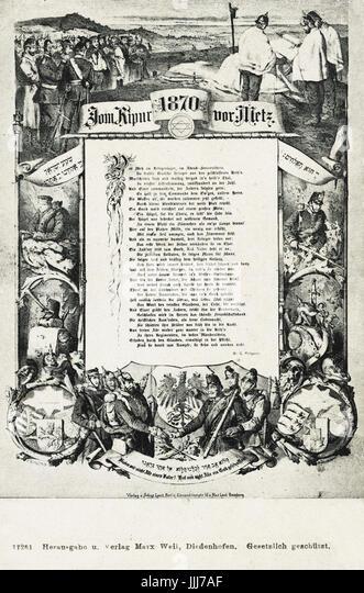 German Jewish Soliders celebrating Yom Kippur outside Metz, 1870, Franco-Prussian War. Poem by G. Phippson talks - Stock Image