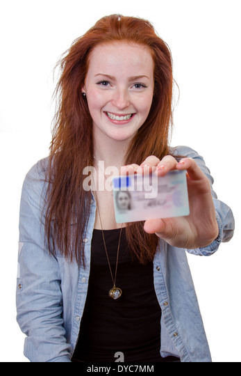 16 to 18 year old girl just received her driver license - Stock Image