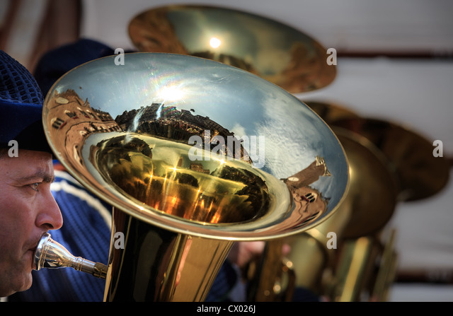 A close up of a tuba with a reflection of Piazza del Campo, Siena, Tuscany, Italy - Stock-Bilder