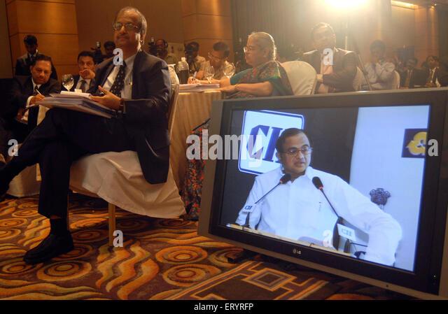 Finance Minister P. Chidambaram Palaniyappan Chidambaram NOMR - Stock Image