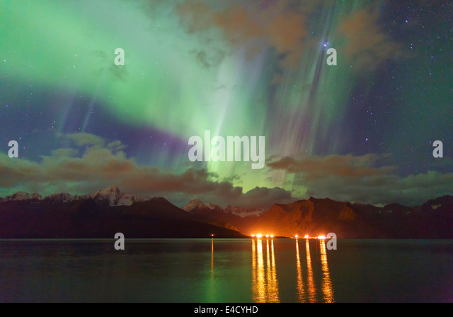 Aurora borealis over Resurrection Bay, Seward, Alaska - Stock Image