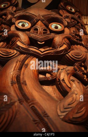 Maori carvings rotorua new zealand stock photos
