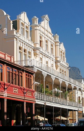 south africa cape town Long street colonial architecture table mountain long street cafe - Stock Image