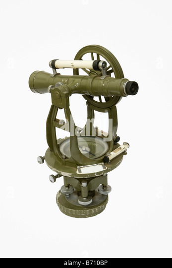 Suriname, Paramaribo, Theodolite from 1930, an instrument for measuring both horizontal and vertical angles. - Stock-Bilder