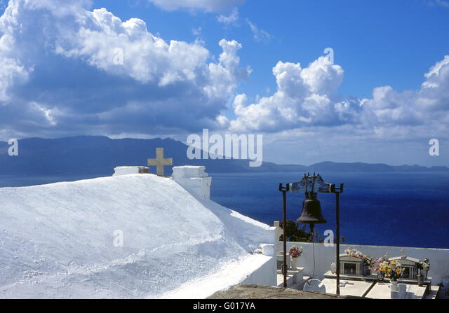 church and cemetery, Crete, Greece, Europe - Stock Image