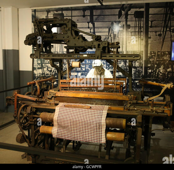 Textile mills. 19th century. Woman worked in textile industry. Reproduction. Spain.Museum of the History of Catalonia, - Stock Image