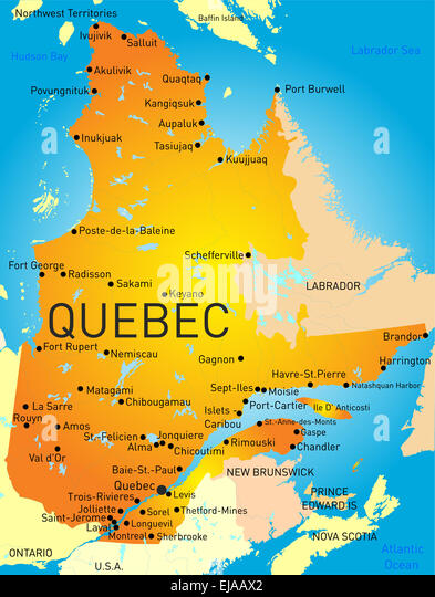Map Of Canada Montreal Quebec Stock Photos Map Of Canada