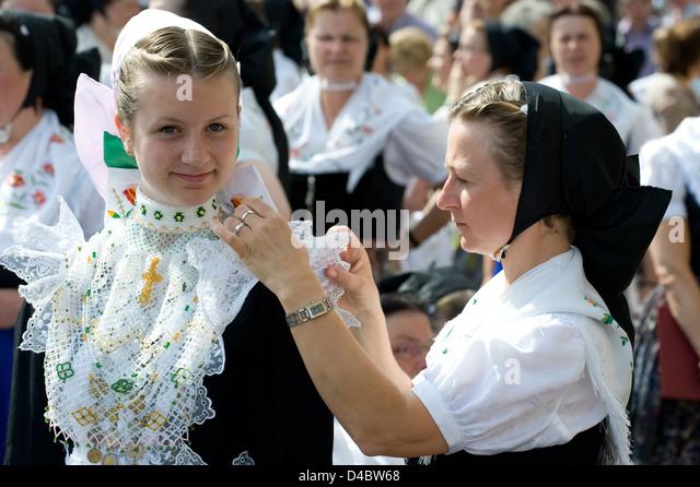 Dresden, Germany, Catholics in the Sorbian costume - Stock-Bilder