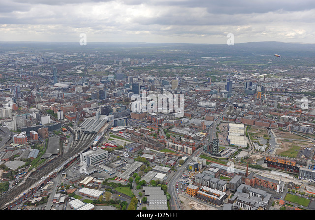 Aerial photograph of Leeds city centre - Stock Image