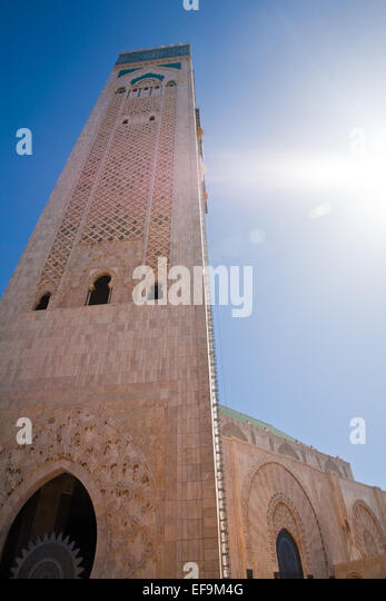 Tower of the Hassan II Mosque in Casablanca - Stock Image