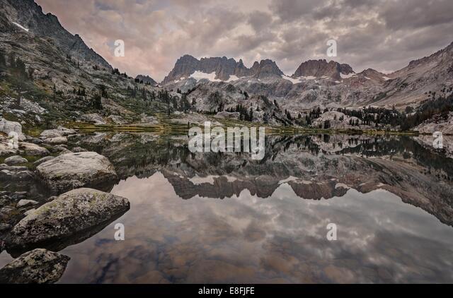 USA, California, Inyo National Forest, Stormy Morning at Lake Ediza - Stock Image